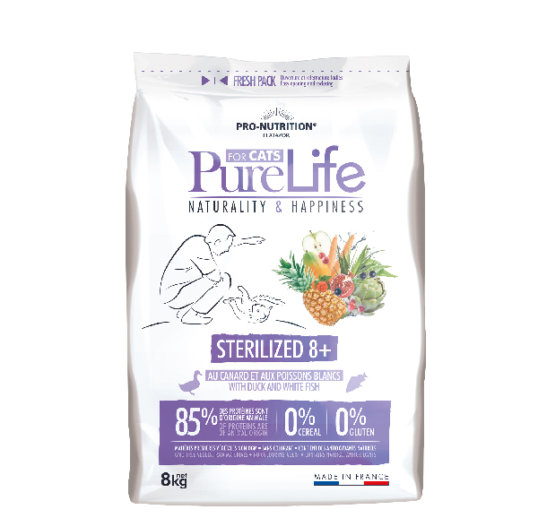 AKCE - PURE LIFE FOR CATS sterilized 8+  8kg (super-premium)