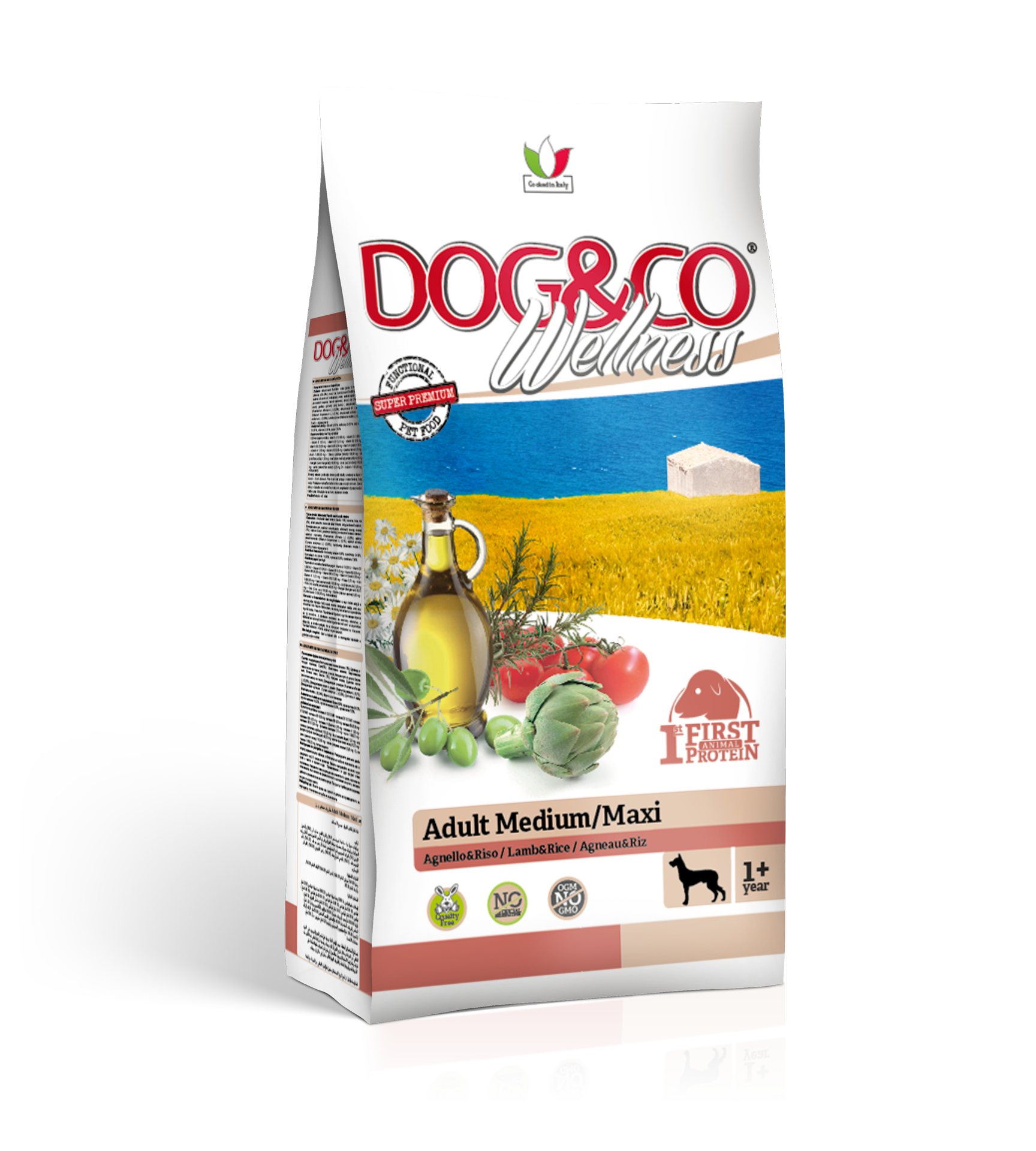Dog&co wellness adult medium/maxi jehněčí s rýží 12kg (super-premium)