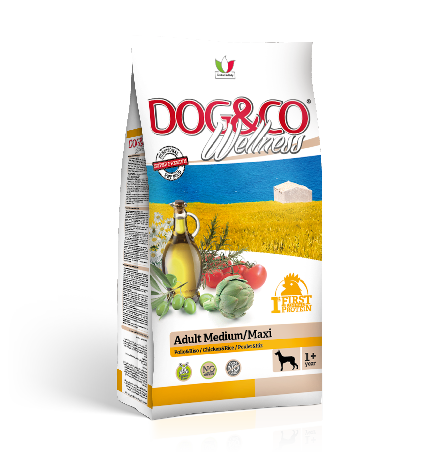 Dog&co wellness adult medium/maxi kuře s rýží 12kg (super-premium)